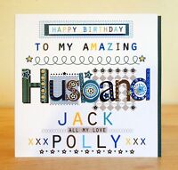 Husband happy birthday card. Personalised male man birthday card. Hubby Partner