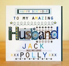 Husband happy birthday card. Personalised male man birthday card. Hubby Partner