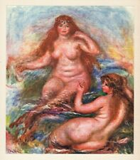 """RENOIR 1919 Limited Color Lithograph """"The Beautiful Mermaids"""" SIGNED FRAMED COA"""