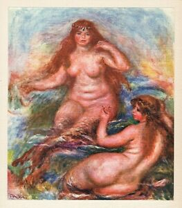 "RENOIR 1919 Limited Color Lithograph ""The Beautiful Mermaids"" SIGNED FRAMED COA"