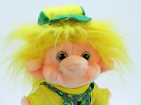 "Trolio Troll Plush Vintage Doll Yellow Hair 10"" Green Overalls Hat 1990's Trolls"