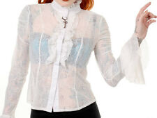BANNED - Womens Cream Plus Size Lace Shirt - Ladies Vintage Long Sleeve Blouse 3xl