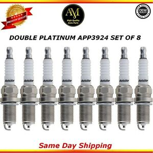 Double Platinum Spark Plugs APP3924 Set of 8 for Mercedes-Benz, Land Rover