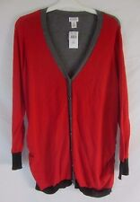 Motherhood Maternity Womens XL Cardigan Button Lightweight Red Sweater - CB14A