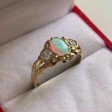 9ct Yellow Gold Vintage Opal & Cubic Zirconia Ring Size P UK Hallmarked