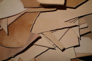 3 Pounds of thick (7 to 14 oz) Assorted Vegetable Tanned Cowhide Leather Scrap