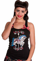 Hell Bunny Carousel Vest Top. tattoo goth punk NEW Black Red 10