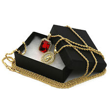 """14k Gold Plated 2pcs Set Jesus Coin&Red Gem Pendant 2mm 30"""" & 24"""" Rope chain 210"""