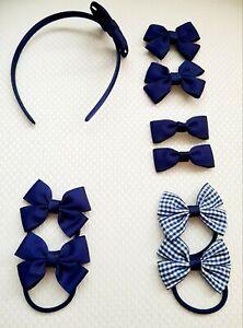 Handmade School Colour Hair Bow Clips Bobbles navy blue Headband 9 pieces