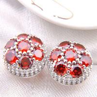 Flower style Woman Genuine Fire Red Garnet Gemstone Silver Stud Hook Earrings