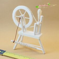 1:12 Scale Dollhouse Miniatures Model Spinning Wheel Handloom Machine White