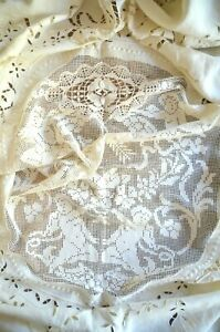 Hand embroidered net lace and linen bed cover, Richelieu embroidery cherubs