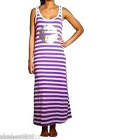R1 Sexy Purple Striped Hoodie Halter Sun Silver DRESS Tank Casual Summer S M L