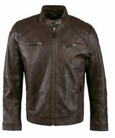 Cafe Racer Biker Vintage Retro Leather Jacket Men Motorcycle Distressed Slim