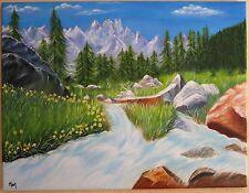 Torrent entre montagnes et forêts : Peinture à l'huile.