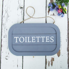 Pretty French Wooden Sign Toilet WC Door Plaque Toilettes Grey & White