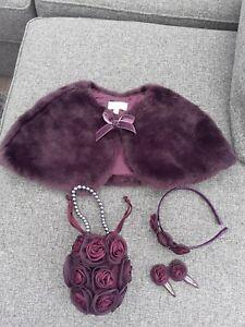 girls faux fur shrug incl bag, head band and hair clips. Age 3-4 years Debenhams