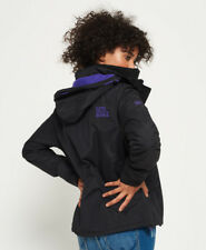 Womens Superdry Pop Zip Hooded Arctic Windcheater Jacket Black Last Size M