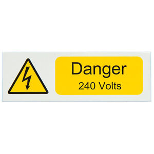 Danger 230Volt Electrical Warning Labels, pack of 10 - 80x35mm, self adhesive