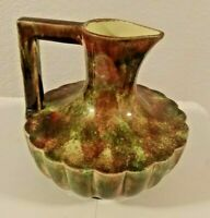 Mid Century Modern Round Scalloped Multicolored Pitcher California Pottery