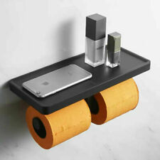 Wall Mount Black Double Toilet Paper Holder With Plastic Storage Bathroom Shelf