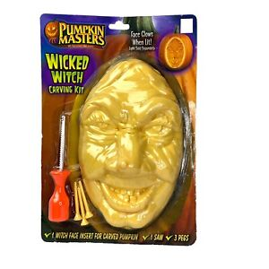 PUMPKIN MASTERS WICKED WITCH Carving Kit Face Insert Carved Pumpkin Halloween