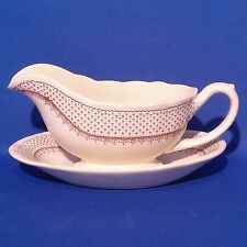 Masons Ashlea Brown Gravy Boat / Sauce Jug with Stand - Vintage 1950s