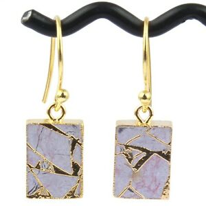 Colorful Copper Turquoise Jade Quartz Gold Plated DIY Drop Dangle Earrings
