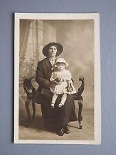 R&L Postcard: Edwardian Fashion Clothes, Portrait of Lady & Baby Girl Child