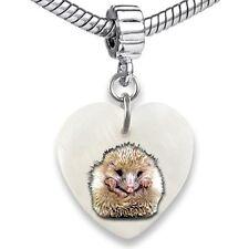 Hedgehog Animal Heart Dangle Mother Of Pearl European Bracelet Charm Bead EBS304