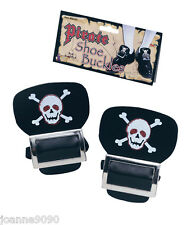 Pair of Silver Skull and Crossbone Pirate Shoes Fancy Dress Costume Shoe Buckles