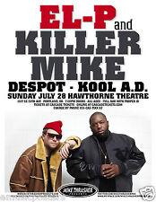 EL-P / KILLER MIKE / DESPOT / KOOL A.D. 2013 PORTLAND CONCERT TOUR POSTER