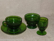 New Martinsville / Viking Green Moondrops Cup Saucer Goblet Sherbet