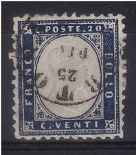 1862 V. E. II c. 20 n° 2c azzurro grigio USATO A TORTONA IL 25-12-62 € 1.200