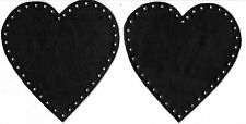 BLACK  - HEART  SHAPED - 100% LEATHER - ELBOW PATCHES