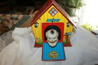 Vintage Tin Litho Wind Fido's Musical Dog House Toy Made In Switzerland