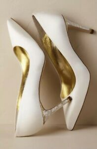 NEW $445 Freya Rose Chelsea Heels Size 35 Bridal Satin Mother Of Pearl