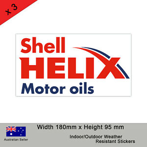 SHELL HELIX MINERAL MOTOR OILS Logo Stickers - Pack of 3