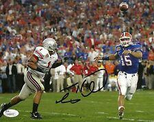 TIM TEBOW SIGNED FLORIDA GATORS NATIONAL CHAMPIONSHIP GAME 8X10 PHOTO W/ JSA COA