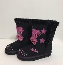 New Skechers Black Lights On/Wear It Twinkle Toes Girl Kids Boots Sz 10