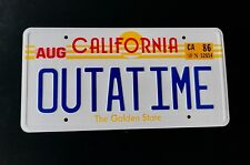 Back to the Future OUTATIME DeLorean License Plate Embossed on Aluminium