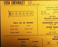 1958 Chevrolet Six Series 1100 1500 1700 Models 235.5 Ci L6 Tune Up Chart