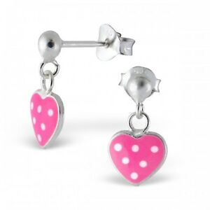 Childrens Sterling Silver Pink & White Spotted Heart Drop Stud Earrings