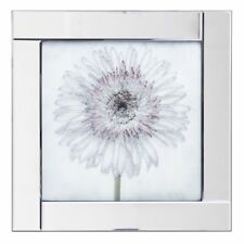 Square Mirror Picture Frame with Gerbera Daisy Illustration Silver Litecraft
