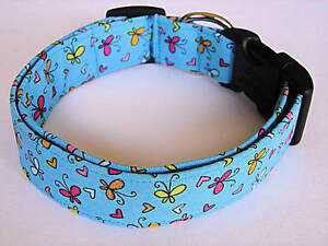 Charming Blue w/ Pink, Yellow & Orange Butterfly & Hearts Dog Collar