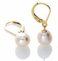Hallmarked 9ct 9k Gold Cultured 7-8mm White Freshwater Pearl Leverback Earrings