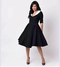 Unique Vintage XXL Eva Marie Swing V-Neck Navy White Dress XXL