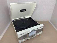 Groove Retro Turntable Vinyl Record Player USB FM Radio Classic Phono Cream C042