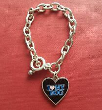 Love my Dog Bracelet large heart with I Love Dogs Silver Plated toggle