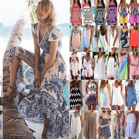 Women Summer Boho Long Short Mini Dress Beach Bikini Cover Up Swimwear Sundress